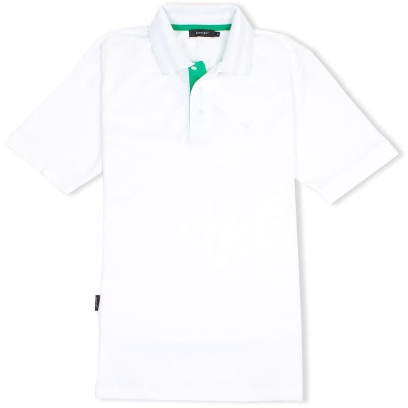 Senlak Striped Under Collar Polo Shirt in white with Anglo-Saxon White Dragon logo