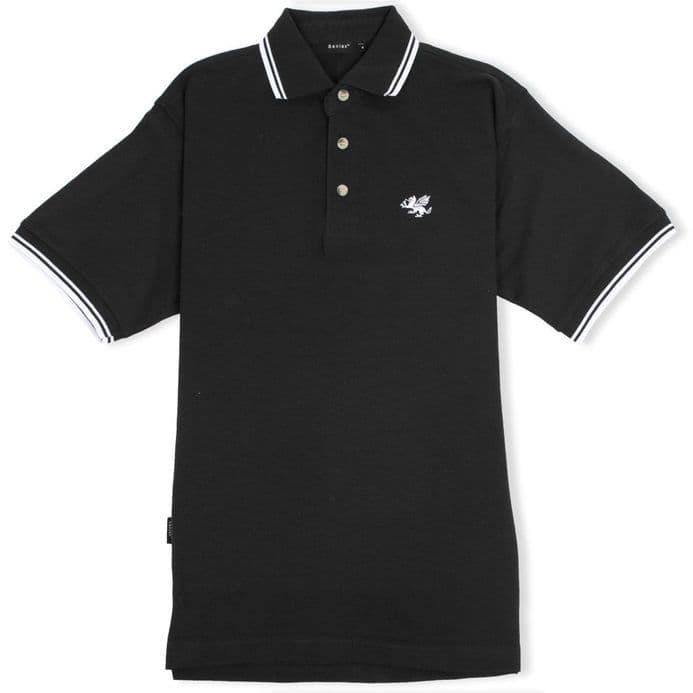 Senlak Tipped White Dragon of the English Polo Shirt - Black