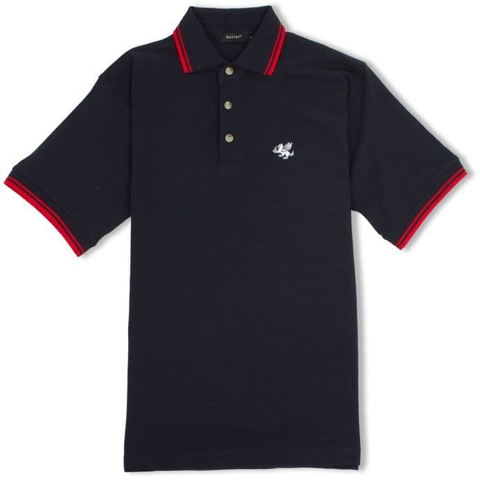 Senlak Tipped Anglo-Saxon White Dragon Polo Shirt - Navy/Red