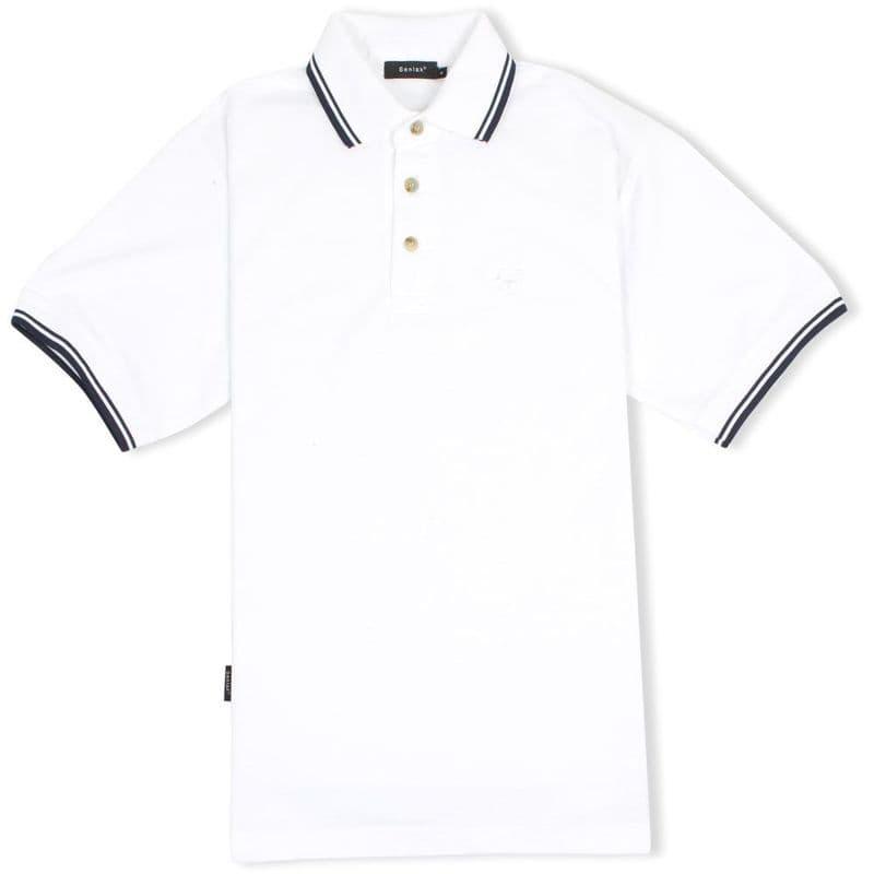 Senlak Tipped White Dragon Anglo-Saxon Polo Shirt - White