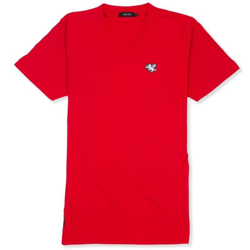 Senlak V-Neck Logo T-shirt - Red