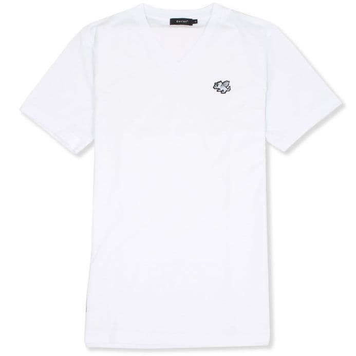 Senlak V-Neck Logo T-shirt - White