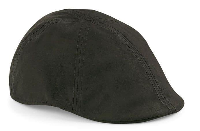 Senlak Waxed Flat Cap - Dark Olive