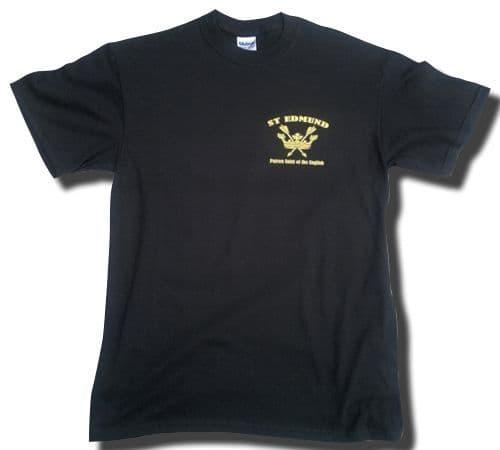 St Edmund Patron Saint of the English T-Shirt with Left Chest Print - Black
