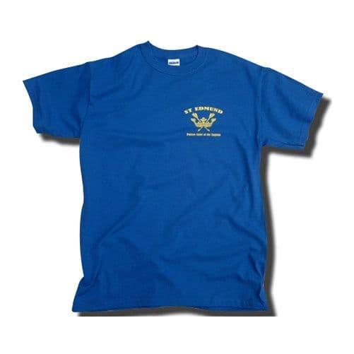 St Edmund Patron Saint of the English T-Shirt with Left Chest Print- Royal Blue