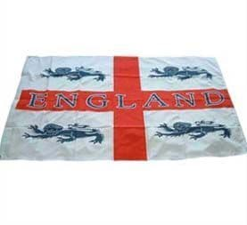 St George Cross England Flag With 4 Lions