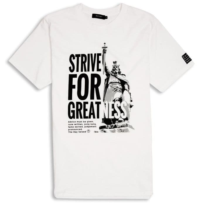 Strive For Greatness T-shirt - Alfred the Great - White with Anglo-Saxon wording