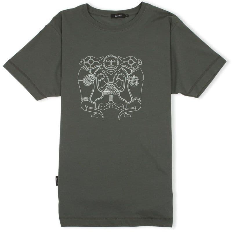 Tiw Anglo-Saxon God charcoal t-shirt with Senlak branding on sleeve
