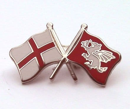 White Dragon and St George Cross Lapel Badge