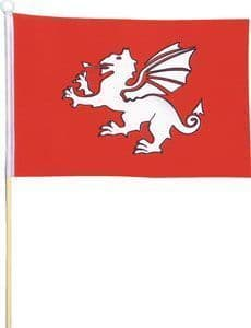 "White Dragon Small Handwaving Flag 9"" x 6"""