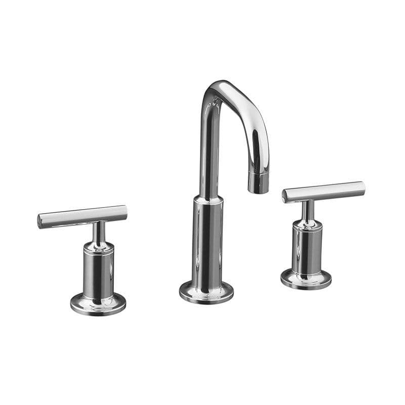 Kohler Purist Deck-Mounted 3 Hole Basin Mixer Tap with Low Gooseneck Spout and Lever Handles