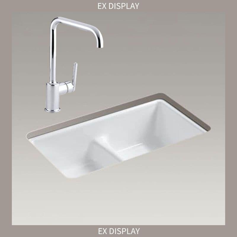 EX-DISPLAY - Kohler Deerfield 838mm Smart Divide Double Bowl Kitchen Sink with Purist Lever Tap