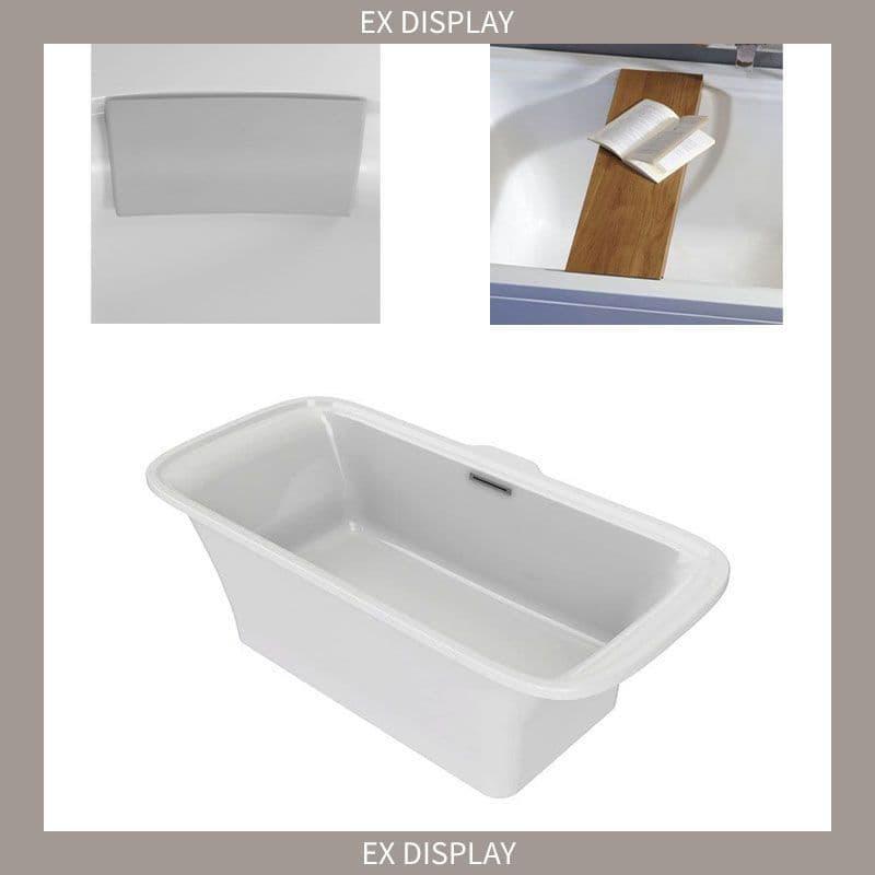 EX DISPLAY - Kohler Flote 1800 x 850mm Freestanding Bath with Gel Pillow and Oak Bench