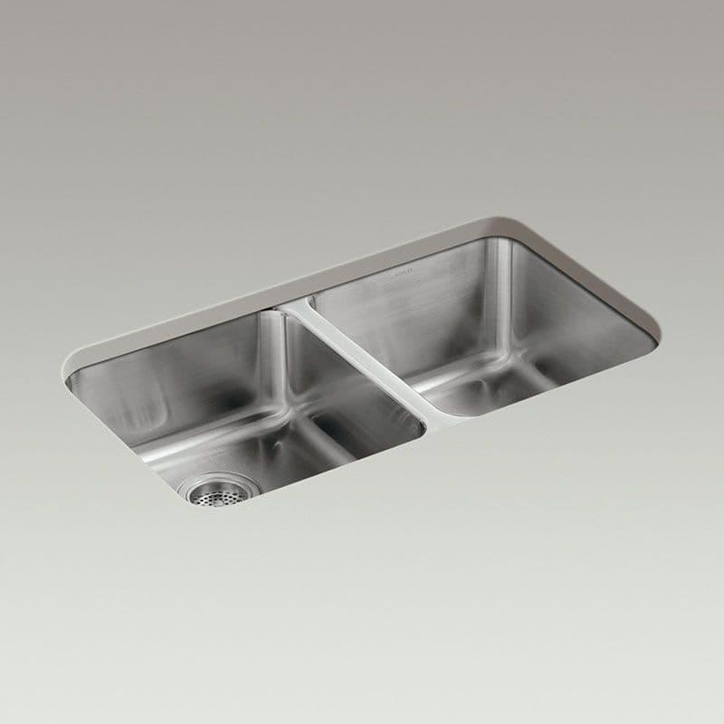 Kohler Icerock 800mm High/Low Double Bowl Kitchen Sink