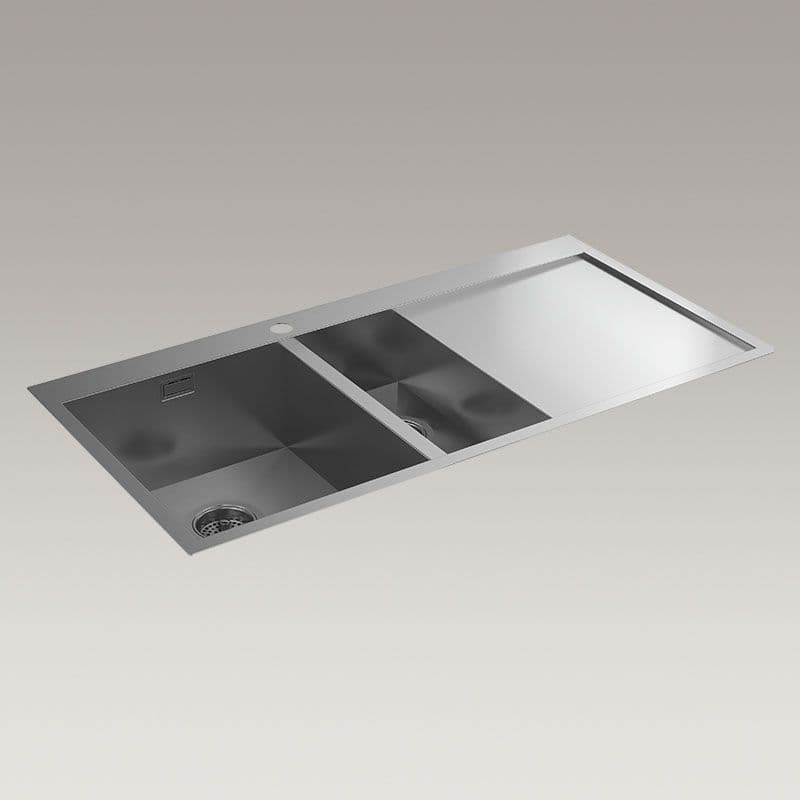 Kohler True 1000mm 1.5 Bowl Kitchen Sink with Right-Hand Draining Board