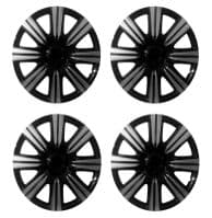 15 INCH UNIVERSAL WHEEL TRIMS CAR COVERS BLACK/SILVER PLASTIC 15 SET OF 4