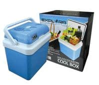 24L COOL BOX PORTABLE ELECTRIC COOLER CAR VAN FRIDGE WITH 12V & 240V ADAPTERS