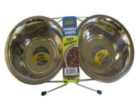 DOG PET BOWL STAND DOUBLE DINER TWIN STAINLESS STEEL FOOD FEEDING STATION WATER