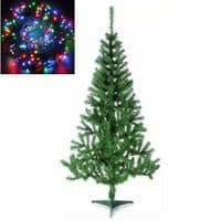 GREEN CHRISTMAS TREE ALBERTA PINE 6FT STAND XMAS BUSHY PINE BRANCHES WITH LIGHTS