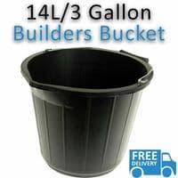 BLACK PLASTIC BUILDERS BUCKET 3 GALLONS 14L HEAVY DUTY WATER/FEED STORAGE HANDLE
