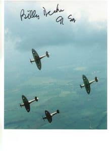 Billy Drake - DFC & BAR, DSO, DFC (US) WW2 Spitfire  Pilot Genuine Signed Autograph 10x8 COA 109