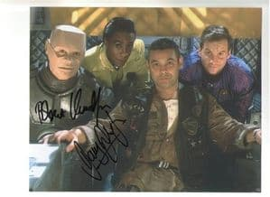 Cast shot from Red Dwarf signed by Robert Llewellyn and Danny John-Jules