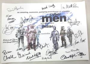 Cyberman, 'Let's Invade Earth', A3 Poster 18 Genuine Autographs, rare  COA 10076