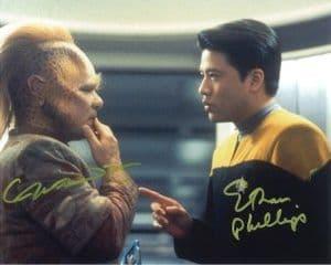 Garrett Wang & Ethan Phillips very rare, Star Trek, Genuine Signed Autograph 10x8  3913