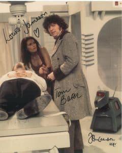 Tom Baker, Louise Jameson, John Leeson - Multi signed DOCTOR WHO GSA 10 x 8  COA 10257