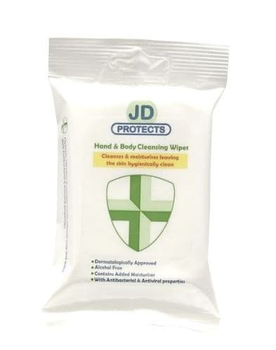 JD Protects, Hand & Body Cleansing Wipes with Antiviral Properties, 15 sheet