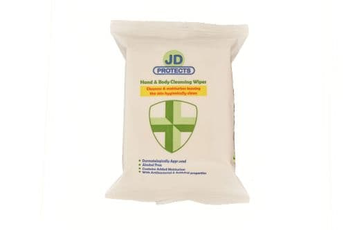 JD Protects, Hand & Body Cleansing Wipes with Antiviral Properties, 20 sheets