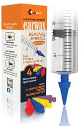 LugGuards 60ml Quad Stream Ear Wax Removal Syringe with 4 Colour Coded Tips