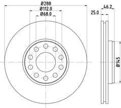 Brake Disc Front 288x25mm