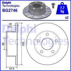 Brake Disc Rear 245x10mm 2 Wheel Drive Models