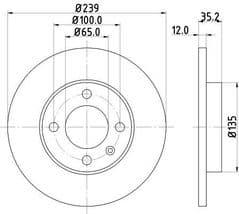 Brake Discs Front 239x12mm Solid