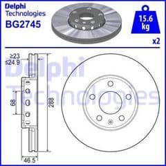 Brake Discs Front 288x25mm