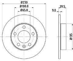 Brake Discs Rear 232 x 9mm Solid