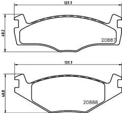 Brake Pads Front 239 x 10mm & 239 x 19mm 95 to 96 only