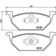 Brake Pads Front 256 x 22mm (No Wear Indicators)