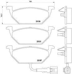 Brake Pads Front 256 x 22mm (With Wear Indicators)