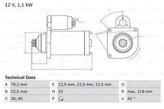Starter Motor 1.6 FSI 2.0FSI with o.e Bosch starter By Bosch