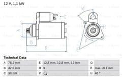 Starter Motor 1.8T AUM by Bosch