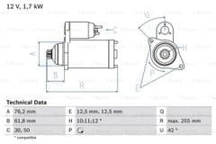 Starter Motor 1.9 TDI Manual Gearbox By Bosch
