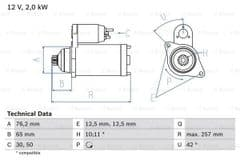 Starter Motor 2.8 V6 6 speed by Bosch