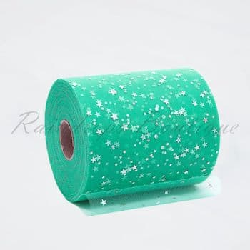 Teal Sequin Star Tulle Roll