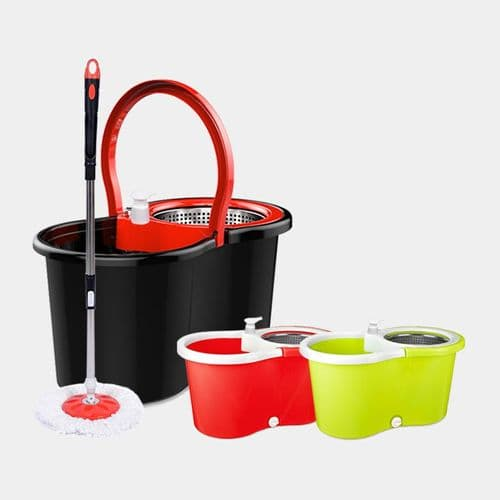 360° Spin Floor Mop & Bucket Set With 2 Mop Head Refills Floor Cleaner Cleaning