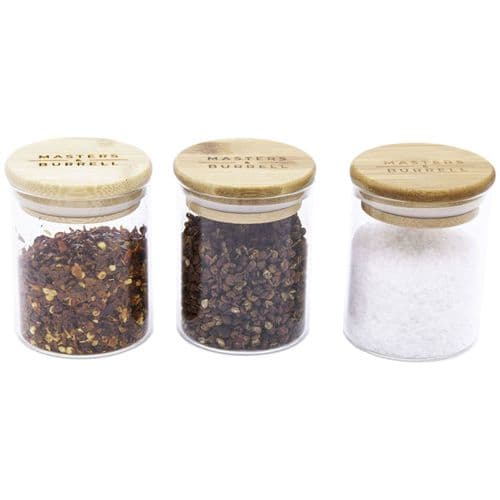 Glass Storage Jars - Salt, Pepper & Chilli Set
