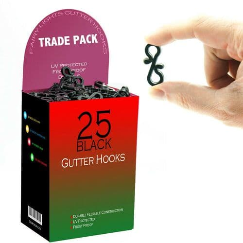 Outdoor Black Gutter Hooks Clips Christmas Icicle Fairy Lights LED
