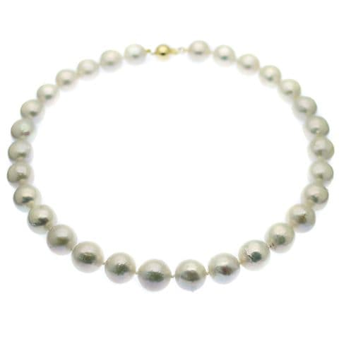 9ct Gold Ming Pearl Necklace 13-14mm White Ming Pearls Gold Clasp