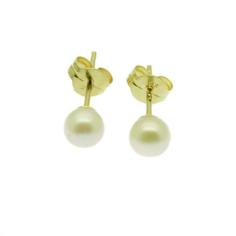 9ct Gold Pearl Earrings 4mm Round White Cultured Pearls Gold Studs